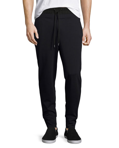 Twill Ponte Double-Waist Jogger Pants, Black