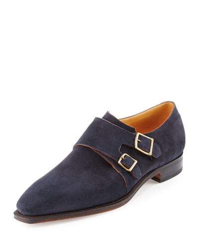 Arca Suede Double-Monk Shoe, Navy