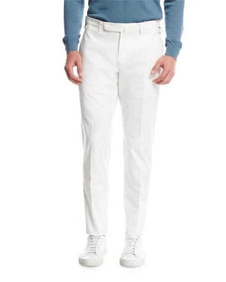 Flat-Front Cotton Pants, White