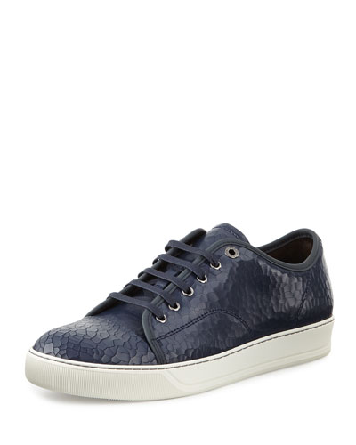 Men's Cracked Patent Leather Low-Top Sneaker