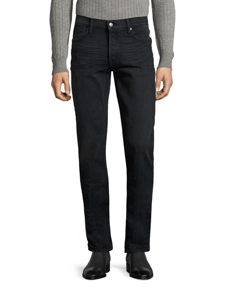 TOM FORD Straight-Fit Denim Jeans, Worn Black