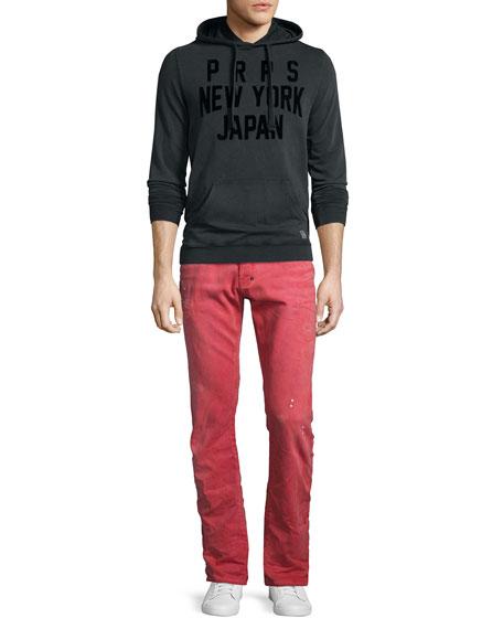 Demon Distressed Denim Slim-Straight Jeans, Red