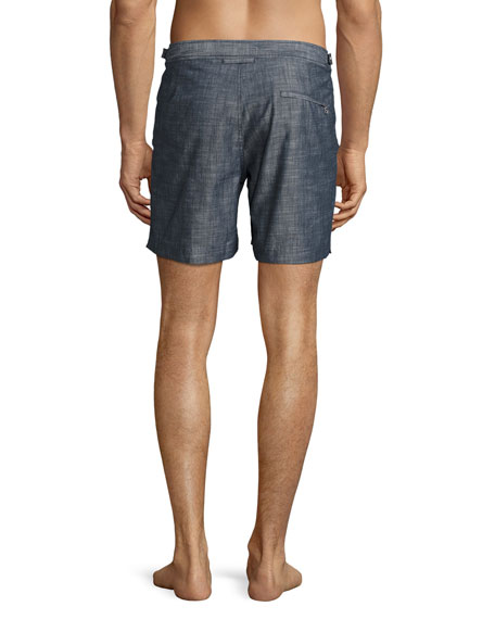 Bulldog Chambray Mid-Length Swim Trunks, Gray