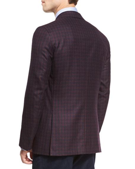 Gun-Check Two-Button Sport Coat, Burgundy/Navy