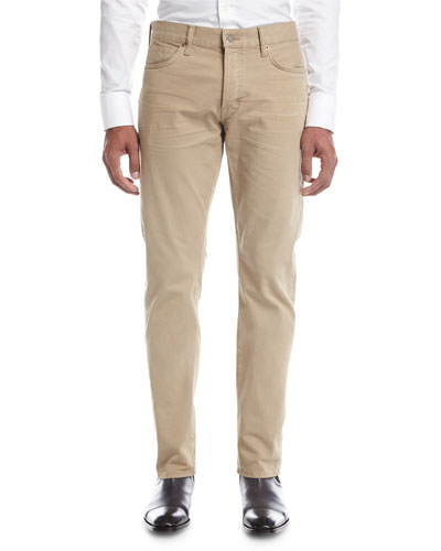 Straight-Fit Denim Jeans, Tan (Brown)