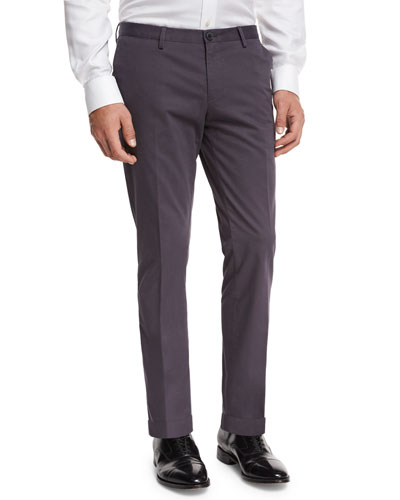 Slim-Straight Flat-Front Trousers, Mid Gray