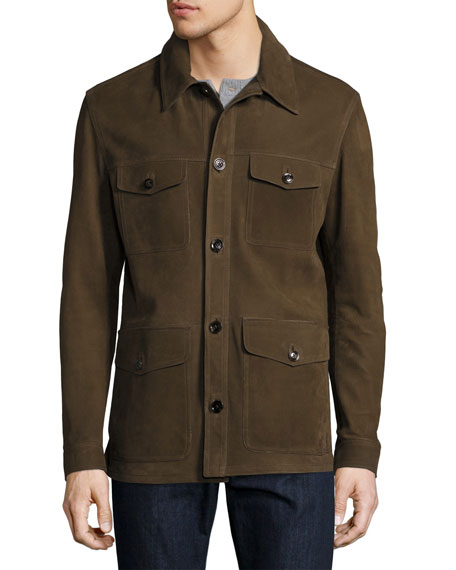 Nubuck Four-Pocket Jacket, Olive