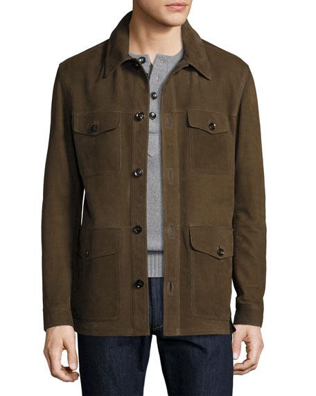 Nubuck Four-Pocket Jacket, Olive