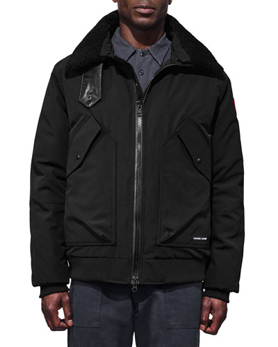 Men's Bromley Shearling-Collar Bomber Jacket