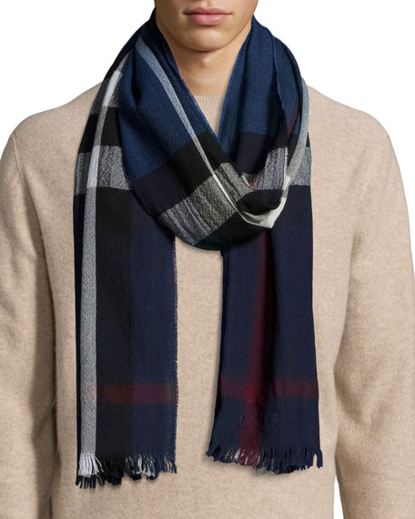 BURBERRY MEN'S WOOL/CASHMERE TRICOLOR CHECK LIGHTWEIGHT SCARF, NAVY