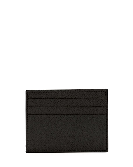 Pebbled Leather Card Case, Black
