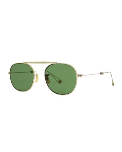 Van Buren M 49 Aviator Sunglasses, Gold/Green