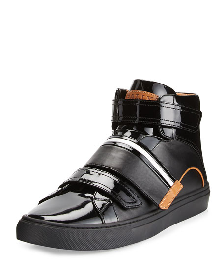 Bally Leathers MEN'S HERICK LEATHER HIGH-TOP SNEAKERS, BLACK