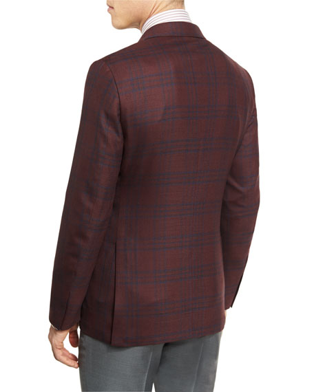 Cool Effect Plaid Two-Button Sport Coat, Burgundy/Navy