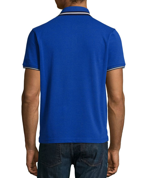 Short-Sleeve Tape-Tipped Polo Shirt, Blue