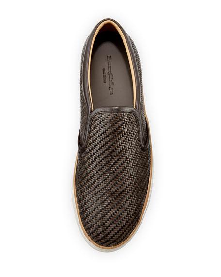 Pelle Tessuta Woven Leather Slip-On Sneaker, Brown