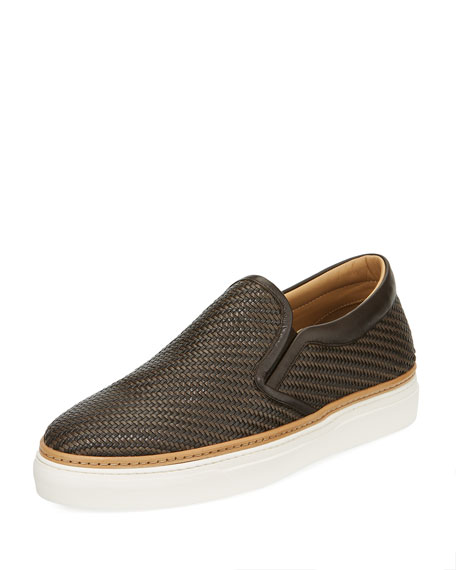 Ermenegildo Zegna Pelle Tessuta Woven Leather Slip-On Sneaker,
