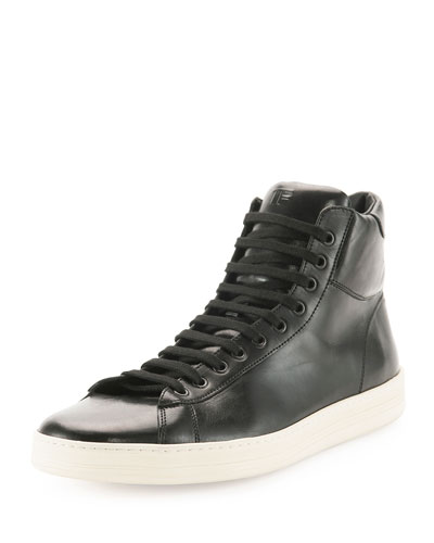 Russel Leather High-Top Sneaker, Black