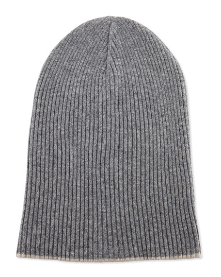 Cashmere Ribbed Hat w/Foldover Brim