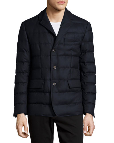 Rodin Quilted Button-Down Jacket, Navy