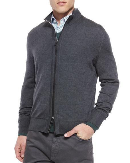 High-Collar Zip Cardigan, Charcoal