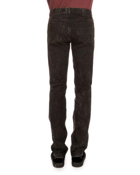 Copper-Stud Slim-Fit Faded Jeans, Black
