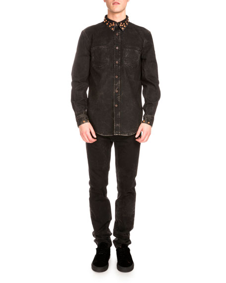 Copper-Stud Slim-Fit Faded Jeans, Black