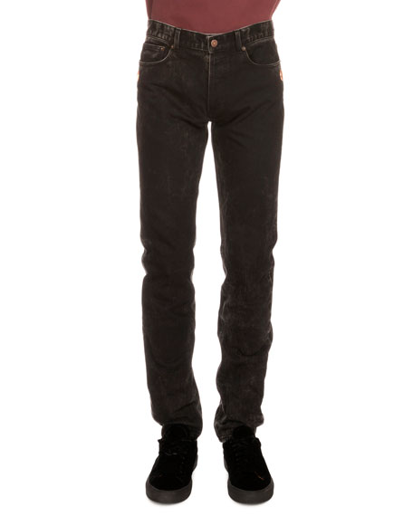 Givenchy Copper-Stud Slim-Fit Faded Jeans, Black