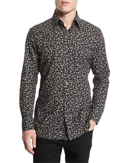 Pansy-Printed Slim Sport Shirt, Black