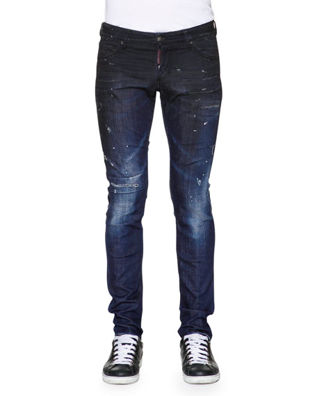 Dsquared2 Slim-Fit Distressed Denim Jeans, Blue