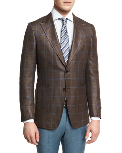 Windowpane Check Two-Button Sport Coat, Brown/Blue