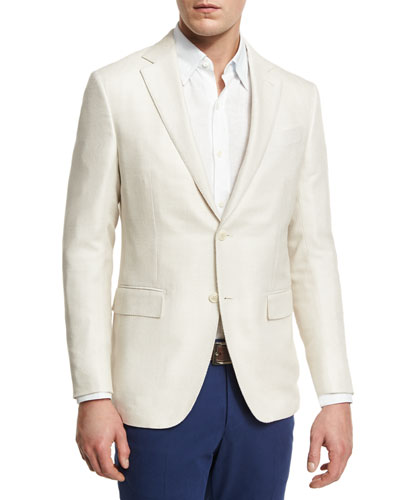 WOOL Two-Button Sport Coat, Ivory