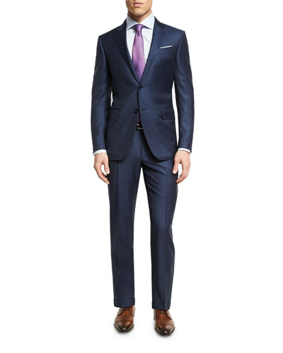 Graph Check Wool Two-Piece Suit, Blue