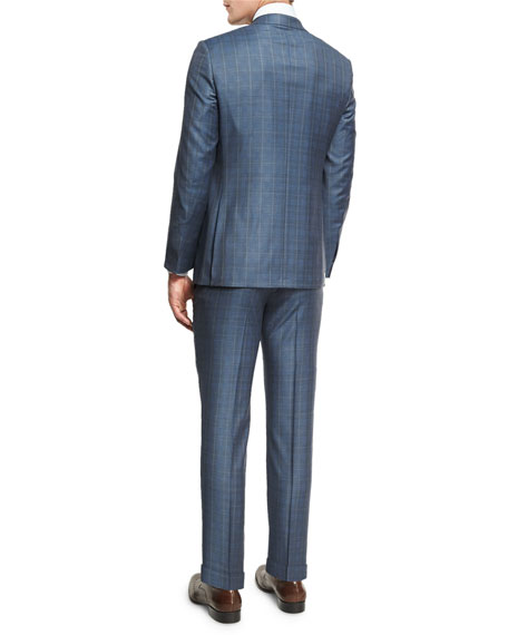 Plaid WOOL Two-Piece Suit, Blue/Gray