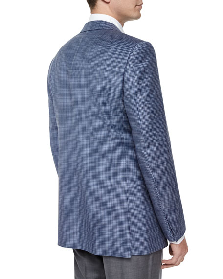 Check Two-Button Jacket, Light Blue/Navy