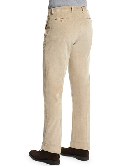 Wide-Whale Corduroy Trousers, Beige