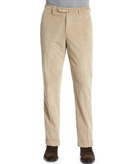 Wide-Wale Corduroy Trousers, Beige