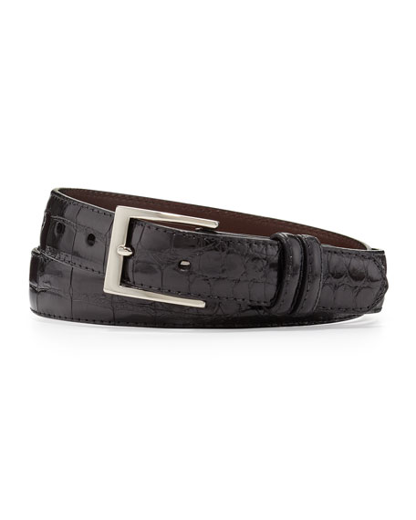 Two-Buckle Glazed Alligator Belt, Black