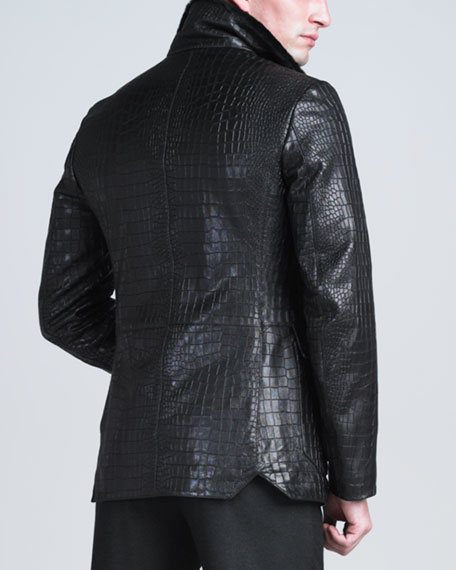 Crocodile-Embossed Lambskin Jacket