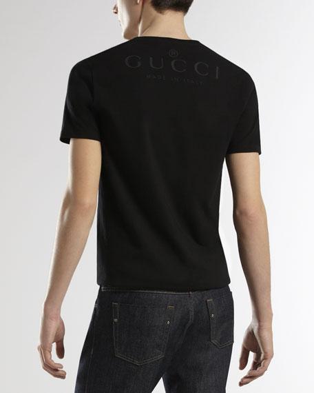 V-Neck T-Shirt with Logo-Back, Black