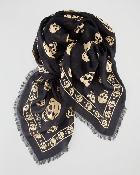Skull-Print Scarf, Black/Gold