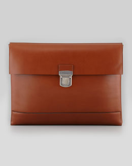 Salvatore Ferragamo Smooth Leather Portfolio, Dress Brown