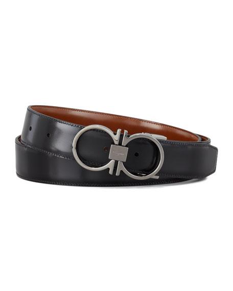 Reversible Gancini Leather Belt, Brown
