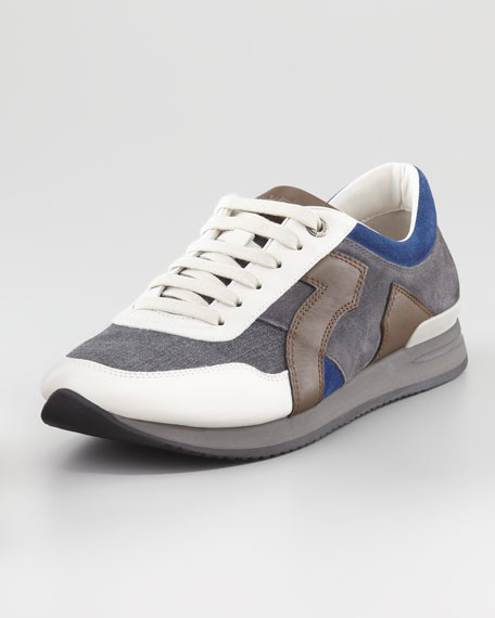 Truman Leather & Fabric Sneaker, Gray/Blue