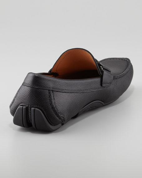 Sardenga Pebbled Leather Driver, Black