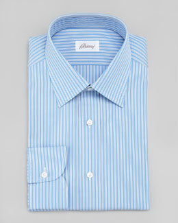 Brioni Striped Dress Shirt, Blue/White