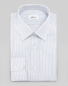 Brioni Striped Dress Shirt, Navy/White