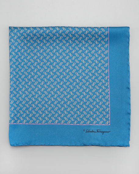 Gancini-Print Silk Pocket Square, Blue