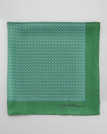 Gancini Links Silk Pocket Square, Green