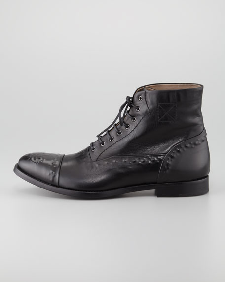 Etched Leather Lace-Up Boot